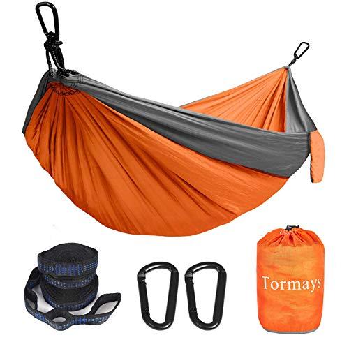 Tormays Camping Hammock, Double & SinglePortable Hammocks with 2 Tree Straps, Lightweight Nylon Parachute Hammocks for Backpacking, Travel, Beach, Backyard, Patio, Hiking(Orange)