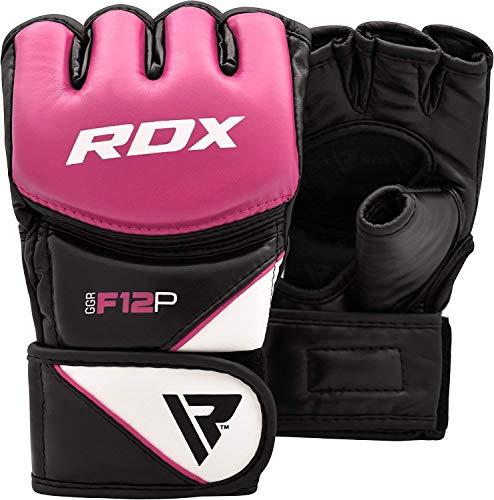 RDX MMA Handschuhe Damen für Kampfsport, Frauen Maya Hide Leder Sparring Trainingshandschuhe Profi Kickboxen Grappling Gloves, Punchinghandschuh für Boxsack, Sandsack, Freefight, Muay Thai (MEHRWEG)