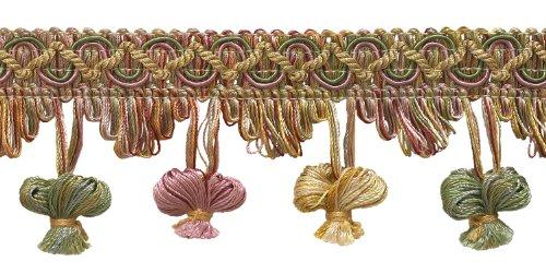 4.6 Meter Value Pack of Dusty Rose, Pastel Green, Lt Gold 51mm Imperial II Onion Tassel Fringe Style# NT2503 Color: ROSE GARDEN - 3549 (15 Ft)
