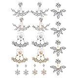 Jcevium 8 paia di orecchini alla moda in argento a forma di foglia fiore di cristallo giacca anteriore e posteriore orecchini per donna M
