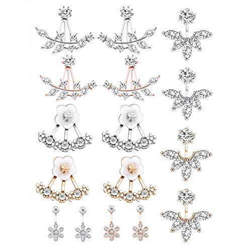 SODIAL 8 Pares Moda Plata?Cristal De La Flor De La Hoja Oreja Chaqueta Frente Y DetráS Stud Aretes Conjunto Para Mujer Chica