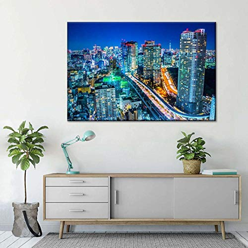 VYQDTNR Abstract Wall Decor for Kitchen Tokyo Business Center Wall Art Bathroom Bedroom Decor Prints Canvas Wall Art Framed Artwork for Walls Vintage Paintings on Canvas Prints