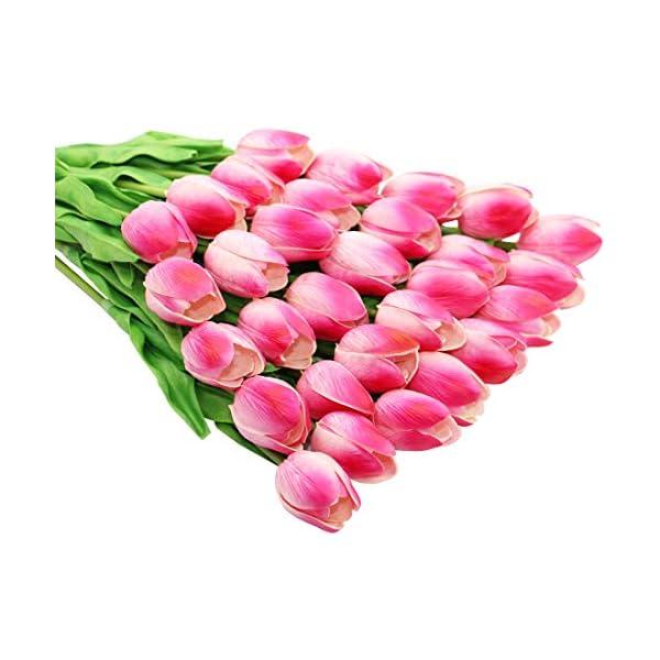 Olrla Flores Artificiales Tulipanes Rosados ??Tacto Verdadero Novia de la Boda del Ramo por un Partido del jardín de la…