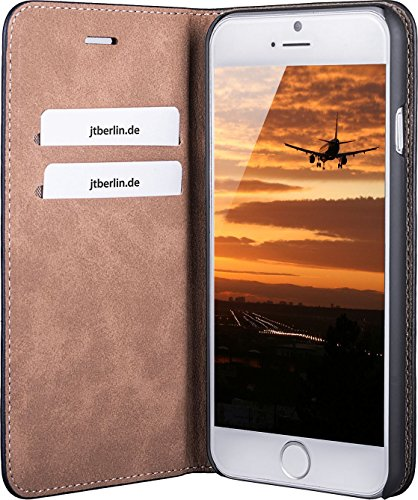 JT Berlin LederBook Tegel Lederhülle für Apple iPhone SE (2020) / 8 / 7 / 6S (schwarz) [Echtleder Hülle, Handarbeit, Standfunktion, Kartenfächer, Magnetverschluss] - 10241