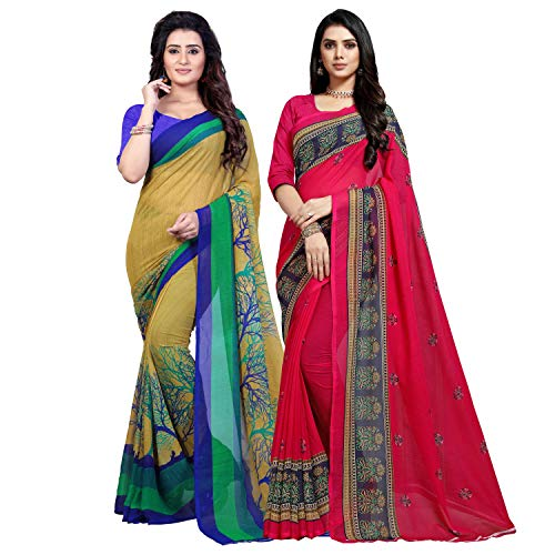 Anand Sarees Georgette with Blouse Piece Saree (Pack of 2) (Combo_1341_1491_Multicoloured_One Size)
