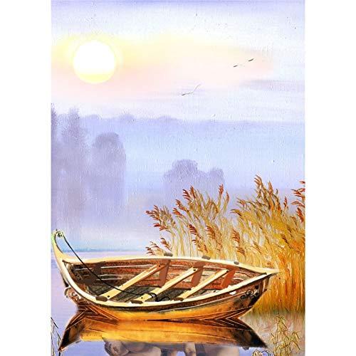 Lazodaer - Kit de pintura de diamante para adultos 5D redondo completo para relajación y decoración del hogar, ferry de 30 x 39 cm