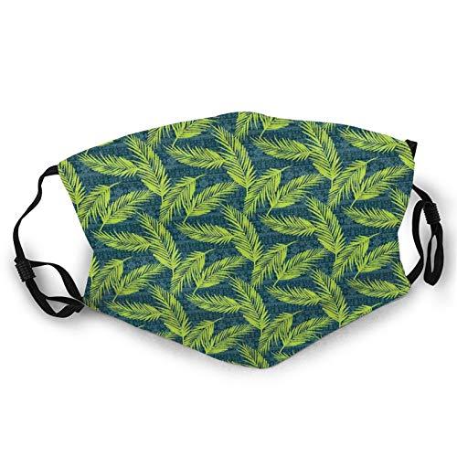 Cubierta facial cómoda a prueba de viento, telón de fondo tribal azteca con hojas de palmera de espigas, decoraciones faciales impresas para unisex