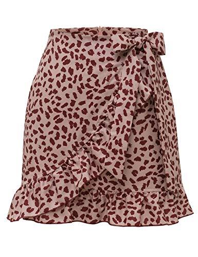 Bbonlinedress Damen Rock Sommerrock kurz Röcke Sommerkleid Mini Skirts Minirock Pink Leopard M