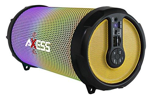 AXESS SPBL1044 Vibrant Plus Black HIFI Bluetooth Speaker with Disco LED Lights in Yellow