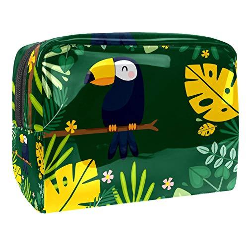 Bolsa de maquillaje portátil con cremallera, bolsa de aseo de viaje para mujeres, práctica bolsa de almacenamiento para cosméticos, pájaros, hojas tropicales