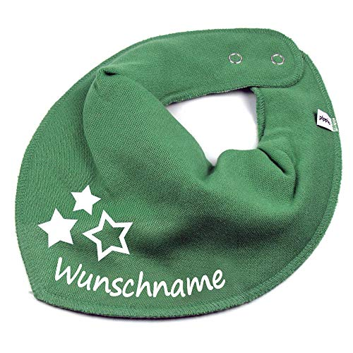 Elefantasie Elefantasie HALSTUCH drei Sterne mit Namen oder Text personalisiert khaki für Baby oder Kind