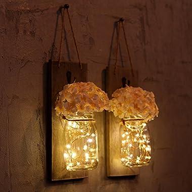 HOMKO Mason Jar Sconce with LED Fairy Lights and Flowers - Rustic Hanging Mason Jar Light Wall Decor Farmhouse Home Decoration (Set of 2)