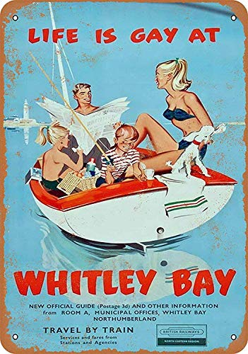 Life is Gay at Whitley Bay - 8'' x 12'' Tin Sign Vintage Novelty Funny Iron Painting Metal Plate