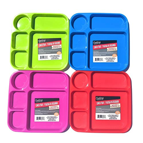 Divided Lunch Tray Bundle-Set of 4 Kids colorful dinner breakfast BPA free microwave dishwasher safe individual plates toddlers all ages