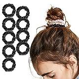 LilySilk 9 Pack 100 Real Mulberry Silk Scrunchies Black for Women Mini- Colorful Hair Bow Ties- Girls- Unique Bobble Elastics Hair Scrunchy- Soft Cute