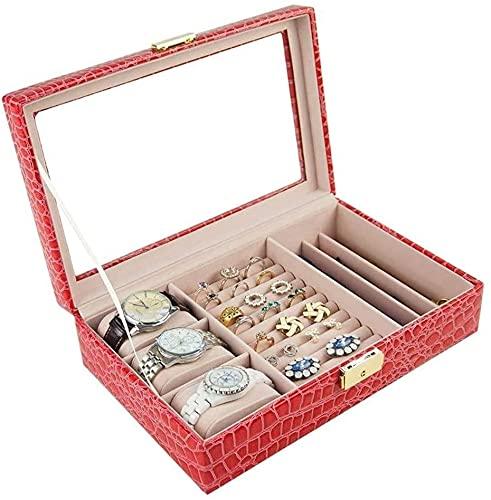 Organizador de joyas, caja de joyería con tapa de cristal, tiene una gran capacidad simple de cerraduras de seguridad, adecuado para mujeres.