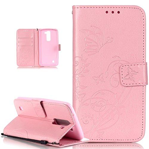 Kompatibel mit LG K10 Hülle,LG K10 Lederhülle,LG K10 Handyhülle,Schutzhülle LG K10 Prägung Blumen Reben Schmetterling PU Lederhülle Handyhülle Tasche Flip Wallet Ständer Schutzhülle für LG K10,Rosa