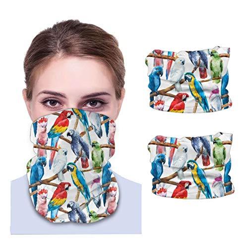 Beauty-Design 2 piezas de acuarela patrón de loro polaina para el cuello, pasamontañas, bandana para motocicleta cubierta facial bufanda para hombres y mujeres