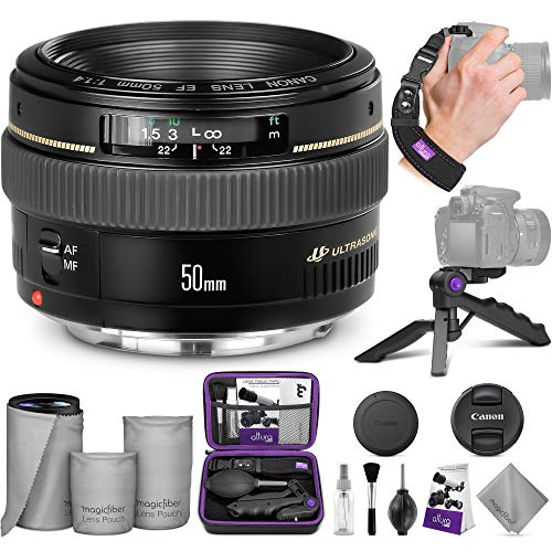 Canon EF 50mm f/1.4 USM Standard Telephoto Lens w/ Advanced Photo and Travel Bundle - Includes: Altura Photo Sling Backpack,...
