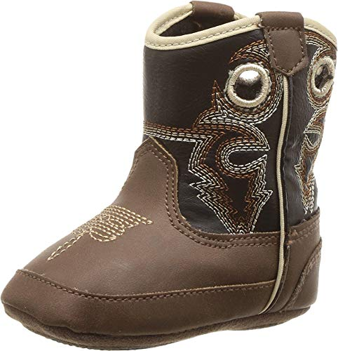 M&F Western Kids Trace Baby Boy's Infant/Toddler Bucker Boot First Walker Shoe, Brown/Black, 2