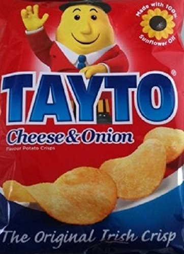 Tayto Cheese and Onion Crisps from Ireland (25 x 25g packets)