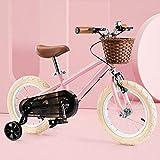 Bicicleta Niño Aluminio para Niños Y Niñas, Bicicleta Aprendizaje 14' 16', Bici con Freno Bici De Montaña Ruedas Auxiliares,Rosado,14'