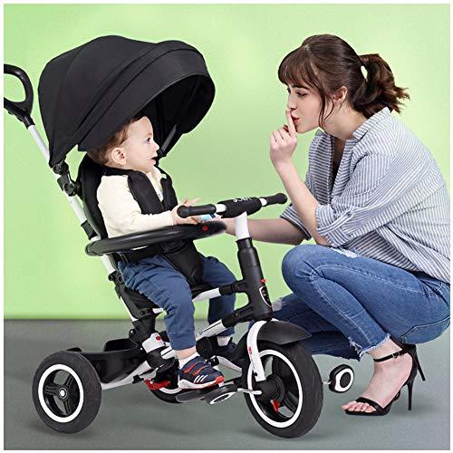 TRICYLE Triciclo Bambini 7 in 1 Pieghevole Triciclo con Maniglione Triciclo a Spinta Triciclo Passeggino può reclinare 6 Mesi a 6 Anni, Black