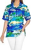 HAPPY BAY Women's Hawaiian Shirt Button Up 3D Graphical Print L Royal Blue_AA431