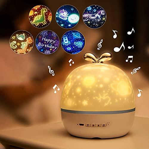 Lámpara Proyector Infantil, Lámpara Proyector Estrellas 360° Rotación Lampara Luz Nocturna...