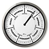 """DayClocks Classic Clock – Day of The Week Clock – Day to Day Clock with Noon & Midnight Markers – 10"""" Aluminium Wall Clock"""