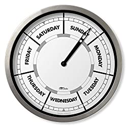 DayClocks Classic Clock – Day of The Week Clock – Day to Day Clock with Noon & Midnight Markers – 10 Aluminium Wall Clock
