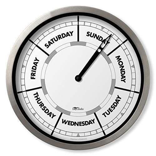 DayClocks Relógio clássico – Relógio de dia da semana – Relógio de dia a dia com marcadores meio-dia e meia-noite – Relógio de parede de alumínio de 25,4 cm