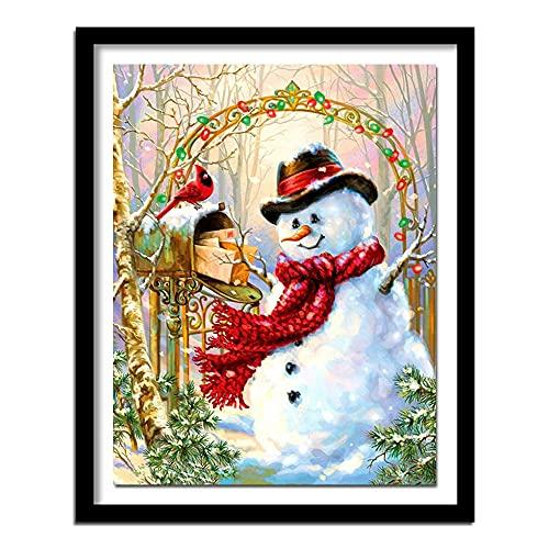 5D diy Diamante pintura muñeco de nieve navidad punto de cruz cristal rhinestone bordado imagen arte artesanía hogar decoración de la pared regalo redondo diamante 40x50cm