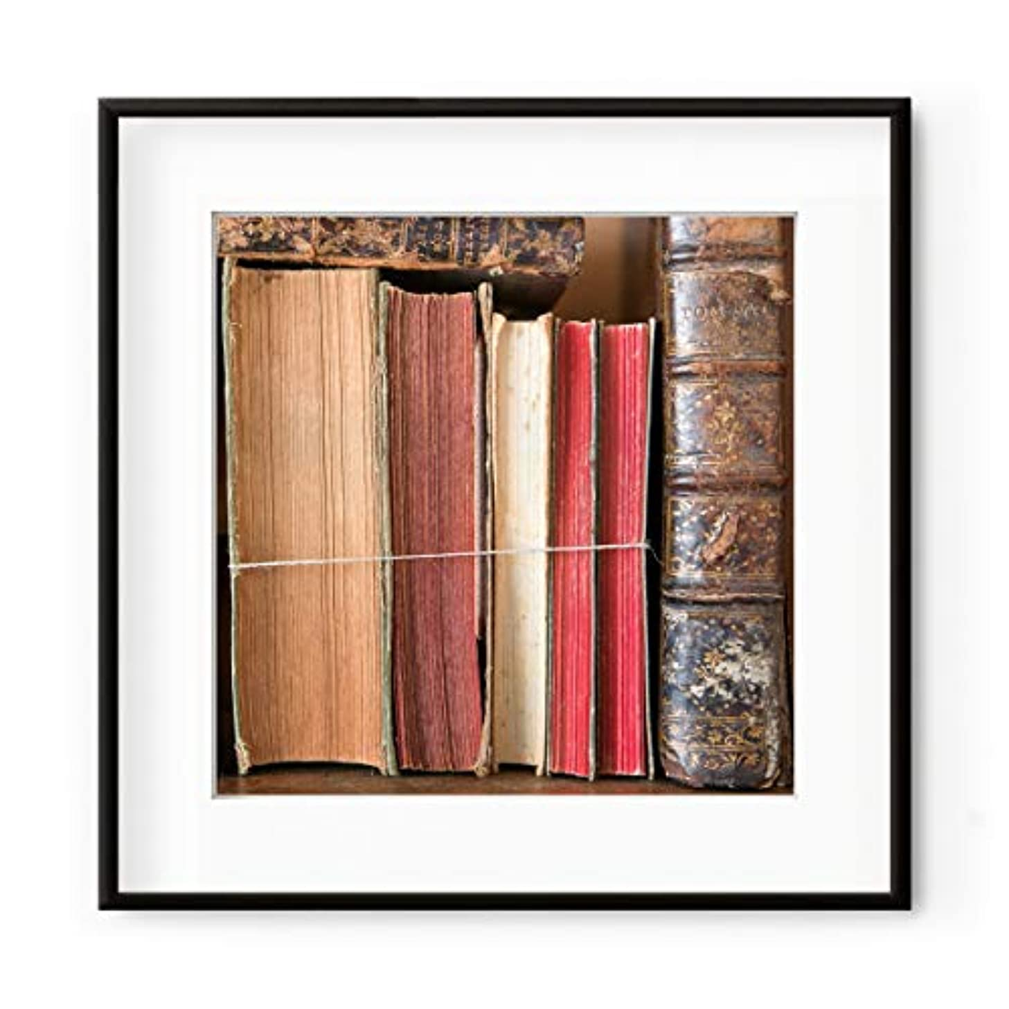 Old Books, Solid Oak Natural Frame, with Mount, Multicolored, 60x60