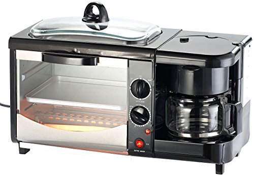 Rosenstein & Söhne Frühstückscenter: 3in1-Frühstücksofen mit Glasdeckel, 1.450 Watt (Mini Küche)