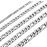Monily 20 Inches Figaro Chain Necklace 4MM Stainless Steel Figaro Link Chain for Men Women