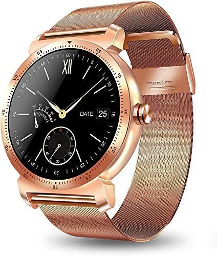 Wzmdd Smart Horloge voor Mannen Vrouwen Kinderen, Zakelijke Bluetooth Smart Horloges Sport Smart Armband voor Android en iOS Systeem Smartphones, Ondersteuning voor het beantwoorden van oproepen en stuur Bericht, Goud