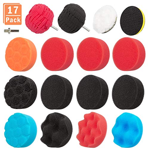17PCS 3 inch Polishing Pads Sponge Buffing Pads Waxing Pads with M10 Drill Adapter