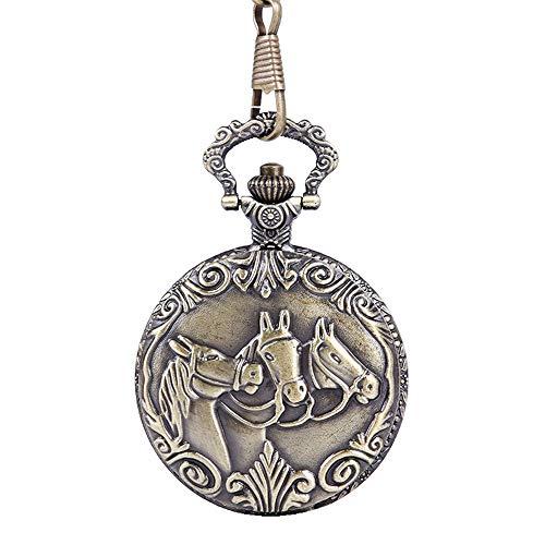 WFDA Reloj de Bolsillo con la Cadena Reloj de Bolsillo nostálgico en Relieve de Caballo Reloj de Bolsillo de Bronce de Tres Caballos con Cadena Fina Vintage (Color, Size : Free Size)