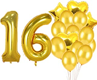 Sweet 16th Birthday Decorations Party Supplies,Gold Number 16 Balloons,16th Foil Mylar Balloons Latex Balloon Decoration,Great 16th Birthday Gifts for Girls,Women,Men,Photo Props