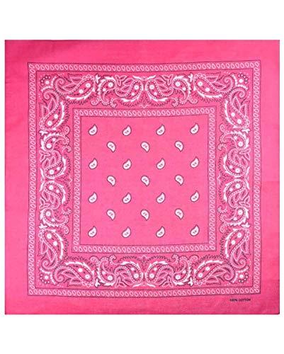 Bandana sjaal hoofd sjaal hals sjaal Paisley verschillende kleuren Unisex mannen vrouwen Bandana sjaal (Paisley-Fuchsia)