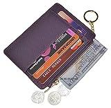 Womens Slim RFID Credit Card Holder Mini Front Pocket Wallet Coin Purse Keychain (Crosshatch Purple)