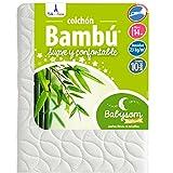 Babysom - Colchón Cuna Bebé Bambú - 60 x 120 cm - Natural - Altura 14 cm - Antiácaros - Antiasfixia - Transpirable - Reglaje Térmico - Desenfundable