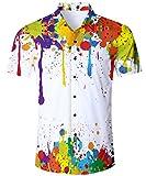 TUONROAD Camisa Hawaiana para Hombre 3D Estampada Funny Tie Dye Pintar Camisas de Playa Multicolor Modelo Casual Manga Corta Camisas Verano Camisa del Tema en la Fiesta de Bodas Cumpleaños - M