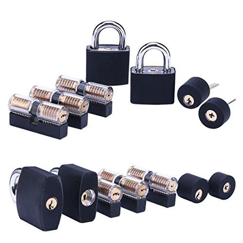 Lockpicking Set, LoKauf 7St. Locksmith Kit Lockpicking übungsschloss Set Dietrich Set mit Silikonhülle Schwarz