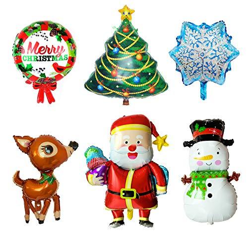 6 Pcs Large Christmas Foil Balloons Merry Christmas Santa Reindeer Snowman Snowflake Christmas Tree Balloon Decoration, Winter Theme Birthday Baby Shower Christmas Holiday Party Supplies