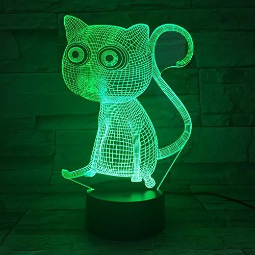 Luz De Ilusión 3D-Animal Gato Luz De Noche Lámpara Led 3D Lámpara De Humor Lámpara De Decoración Luz De Noche Para Niños Juegos Regalos-Control Remoto