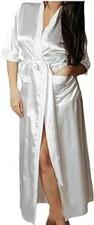 iLOOSKR Sexy Seductive Women's Bathrobe Long Silk Doll Dress Underwear Nightdress Suit