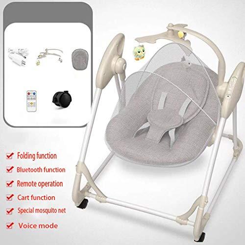 ZWQ kids Chaise à Bascule électrique, inclinable Berceau Pliant bébé, Chaise de Confort Nouveau-né endormi, Le Shaker Enfants, adapté pour 0-2 bébé,C