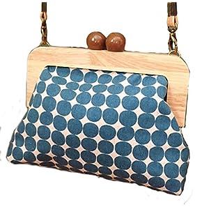 Teal Polka Dot Clasp Bag, Vintage Style Kiss Lock Purse Bag, Wooden Frame CrossBody Bag